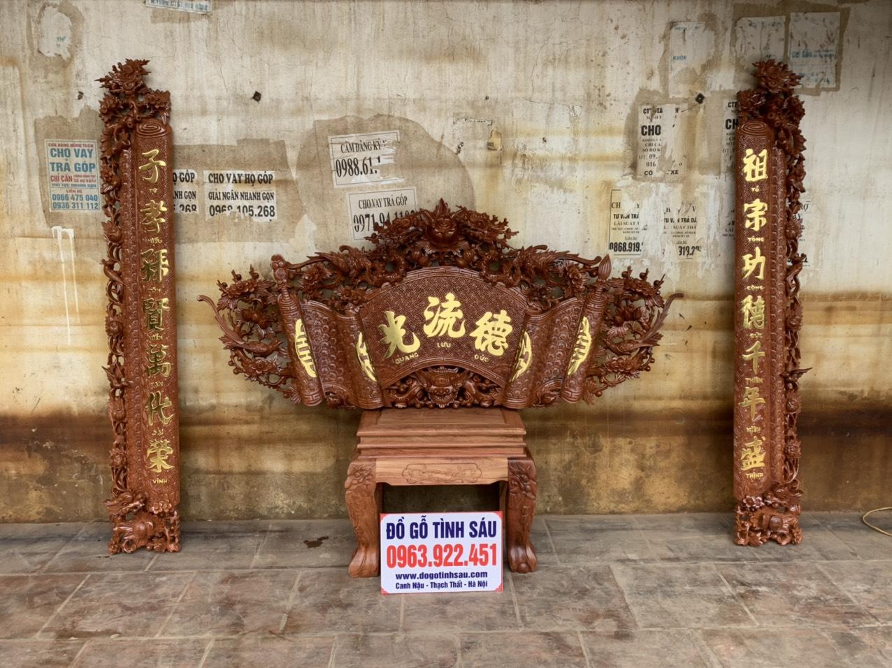 cuon thu cau doi go huong - Bộ cuốn thư câu đối gỗ hương đá mẫu mai hóa long 1m97