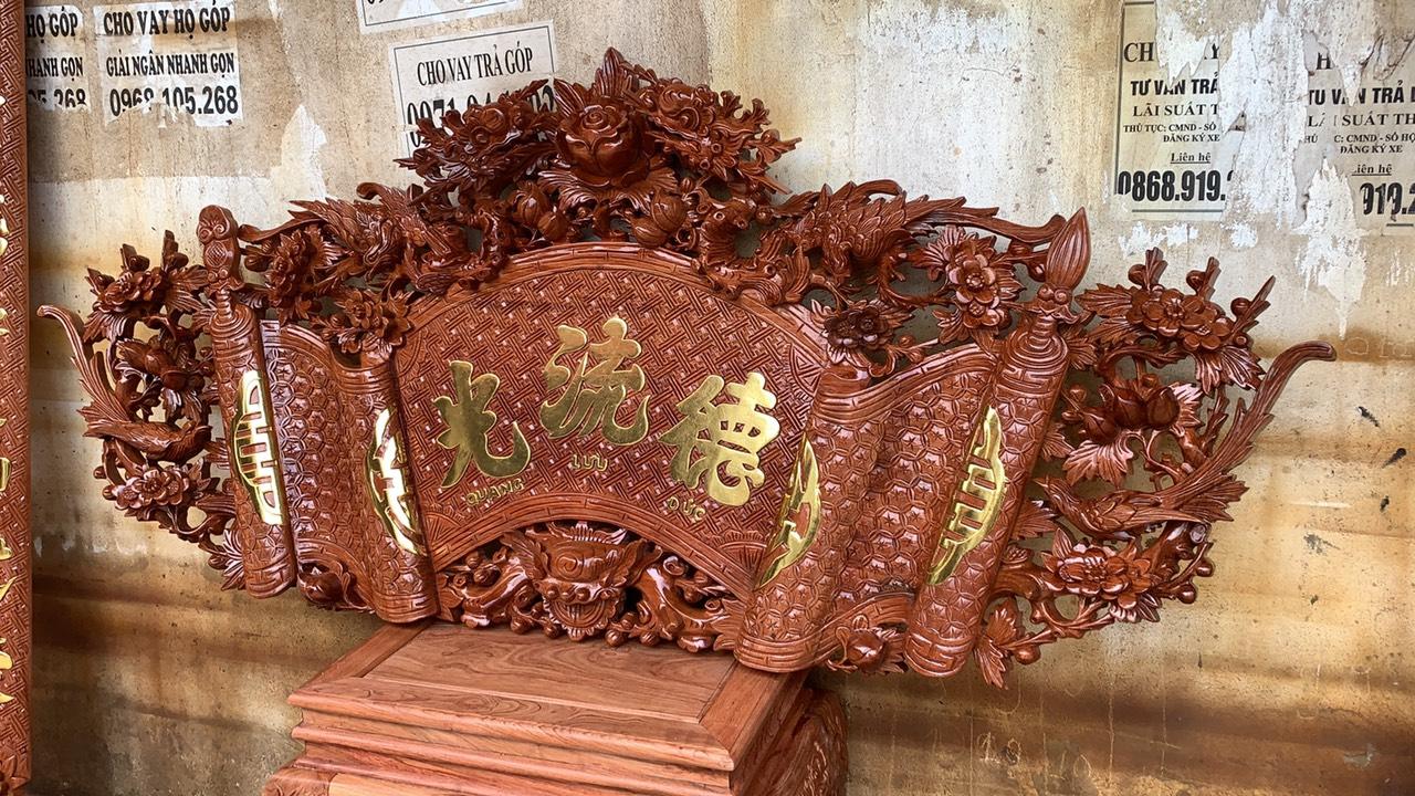 cuon thu go huong da - Bộ cuốn thư câu đối gỗ hương đá mẫu mai hóa long 1m97
