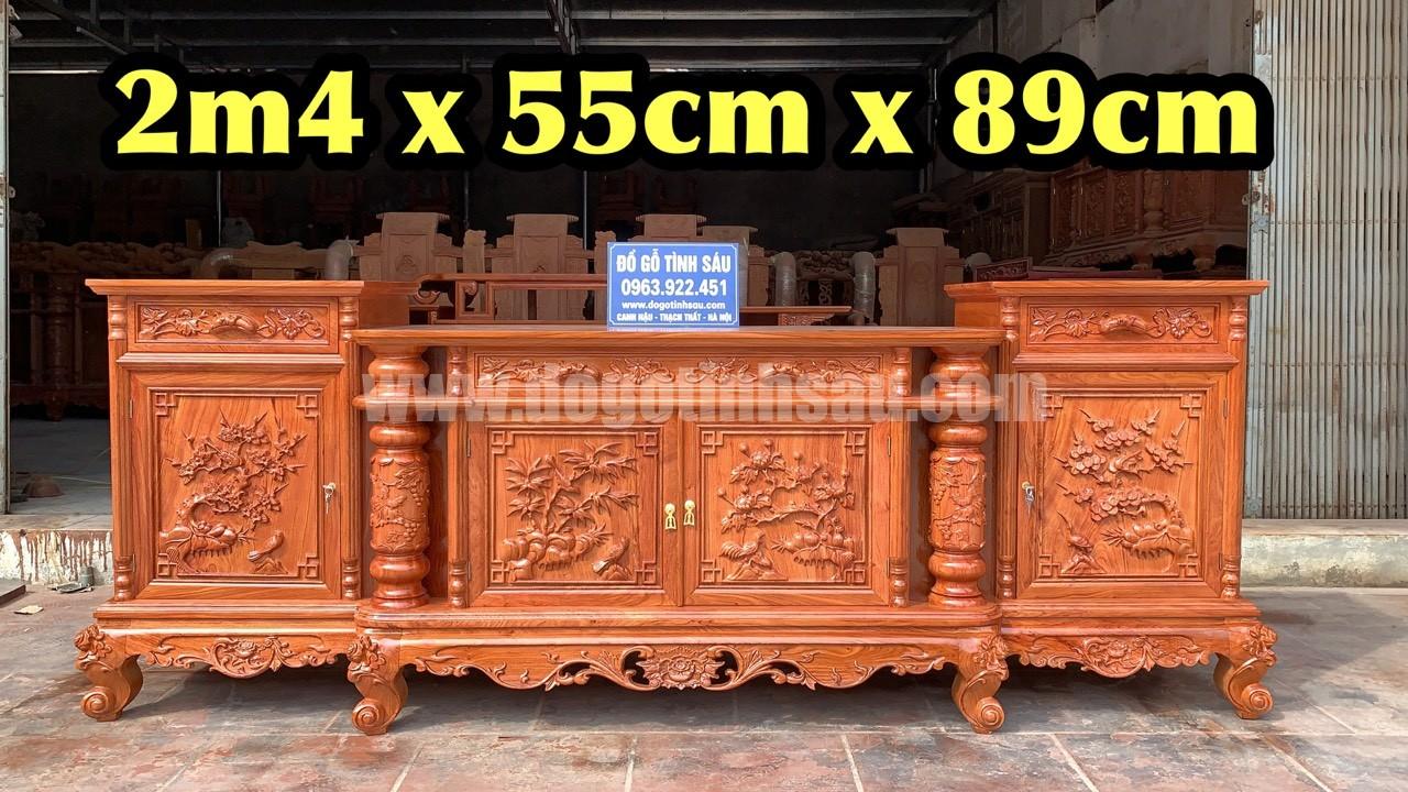 ke cot nho con soc go huong da 2m4 - Kệ Tivi Cột Nho Con Sóc Gỗ Hương Đá 2m4 x 55 x 89 (Hàng Dày)