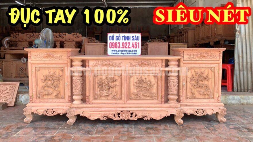 ke cot nho duc tay 880x495 - Kệ tivi cột nho con sóc 2m4 gỗ hương đá đục tay 100%