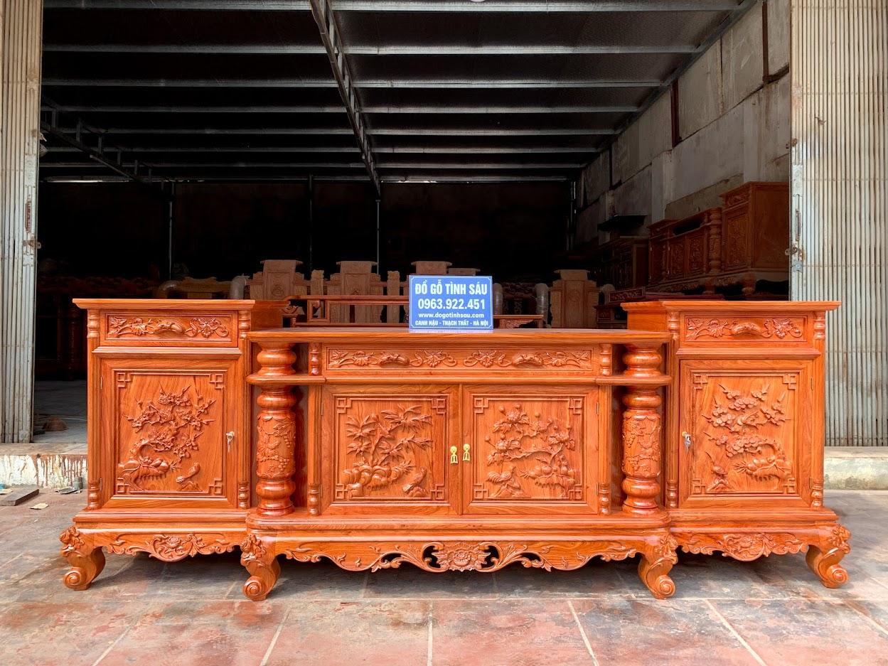 ke tivi cot nho 2m4 go huong da rong 55 - Kệ Tivi Cột Nho Con Sóc Gỗ Hương Đá 2m4 x 55 x 89 (Hàng Dày)
