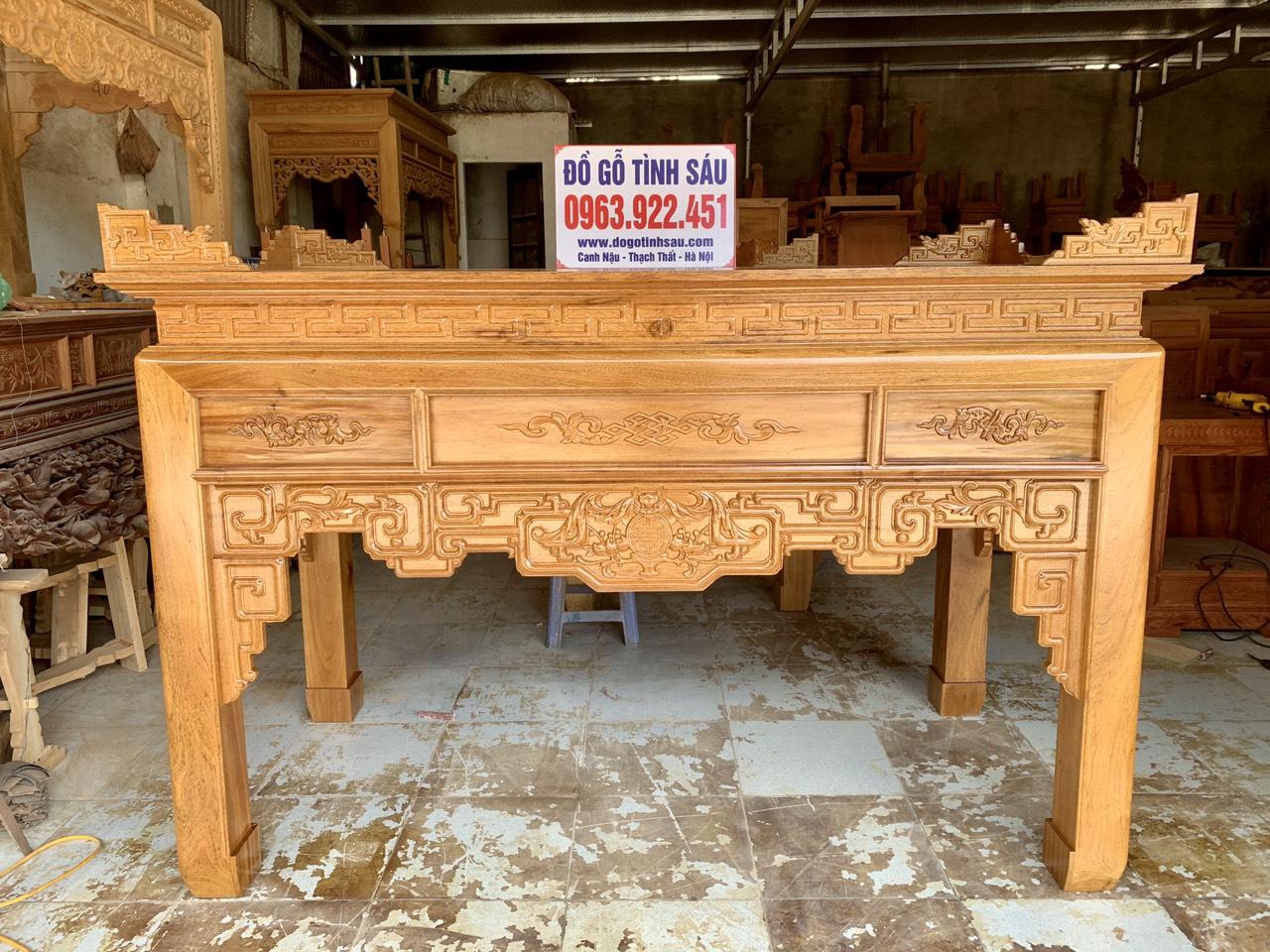 mau ban tho go gu - Bàn thờ gỗ gụ đẹp chuẩn giá tốt tại Hà Nội