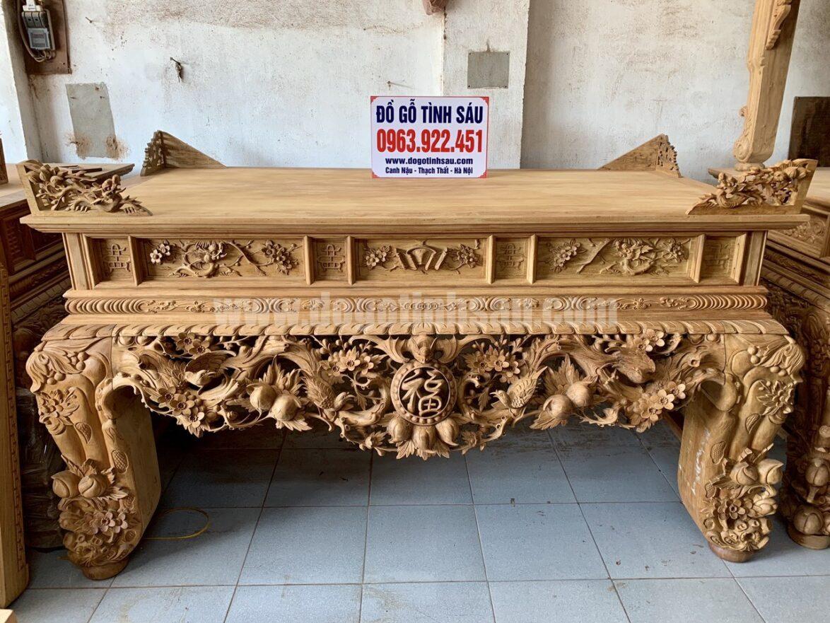 sap tho mai dieu gu lao 1174x881 - Sập thờ mai điểu gỗ gụ chân 24 đục tay 100% hàng VIP