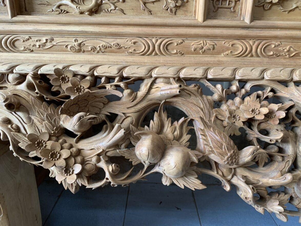 sap tho mai dieu gu lao chan 24cm 1174x880 - Sập thờ mai điểu gỗ gụ chân 24 đục tay 100% hàng VIP