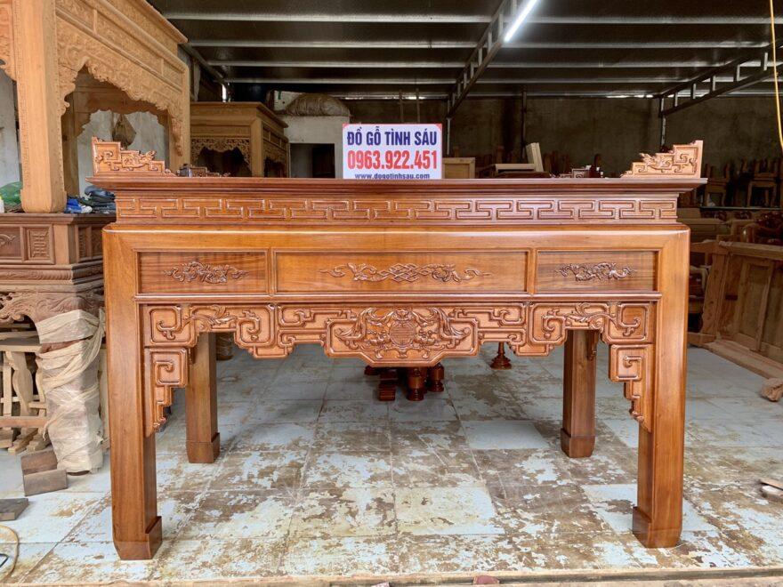 an gian go gu chan 12 880x660 - Bàn thờ án gian gỗ gụ lào 1m97 chân 12 (Chú Dung - Đan Phượng)
