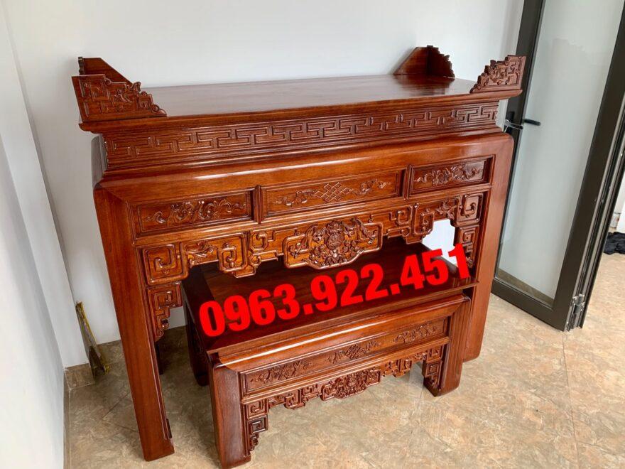 ban tho cap go gu dai 1m53 880x660 - Bàn thờ cặp gỗ gụ lào 1m53
