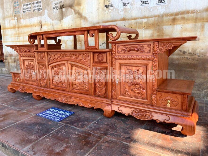bao gia ke tivi sung trau go huong 880x660 - Kệ tivi vòm (sừng trâu) gỗ Hương Đá 2m37 hàng dày siêu đẹp