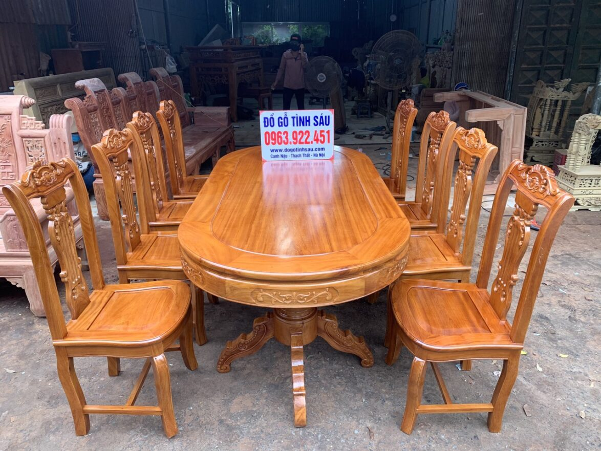 bo ban an bau duc 8 ghe hinh cay dan go go do 1 1174x881 - Bộ bàn ăn bầu dục 8 ghế hình cây đàn gỗ gõ đỏ (trụ 20)