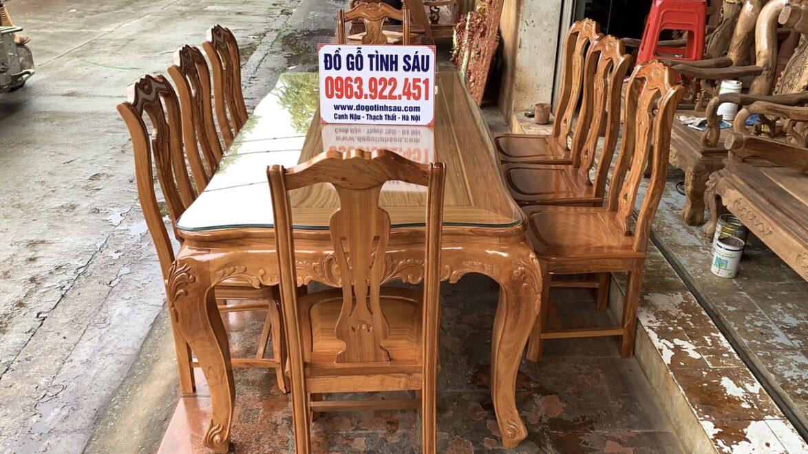 bo ban an chu nhat 8 ghe hinh cay dan go go do 1 1174x660 - Bộ bàn ăn chữ nhật 8 ghế hình cây đàn gỗ gõ đỏ