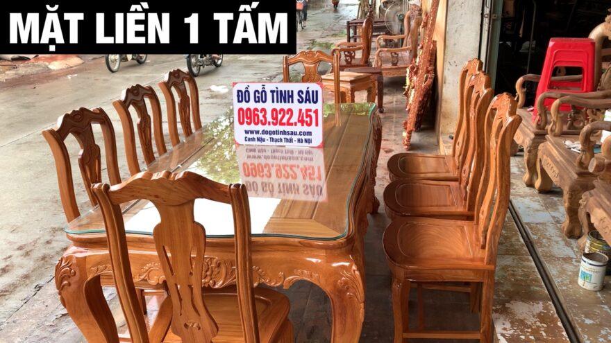 bo ban an chu nhat 8 ghe hinh cay dan go go do 880x495 - Bộ bàn ăn chữ nhật 8 ghế hình cây đàn gỗ gõ đỏ