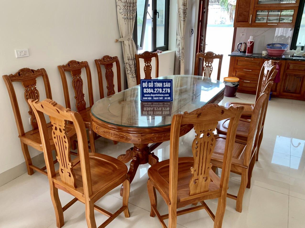 bo ban an go go do 10 ghe 1 - 5 Lý do để mẫu bàn ghế ăn gỗ gõ đỏ ngày càng được ưa chuộng trên thị trường