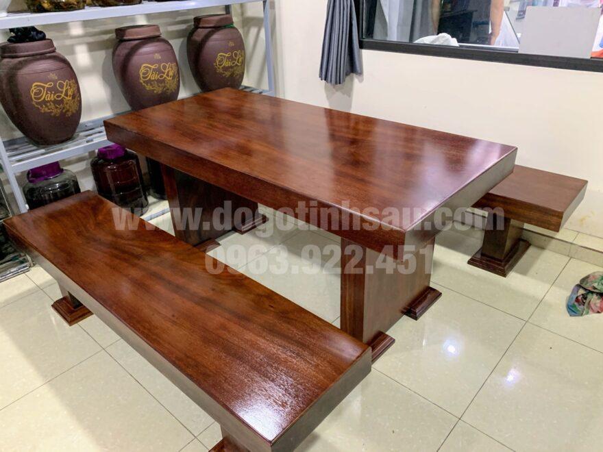 bo ban ghe an 3 tam go lim nam phi nguyen khoi 1 880x660 - Bộ bàn ghế ăn 3 tấm gỗ Lim Nam Phi nguyên khối