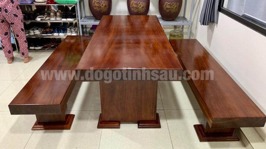 bo ban ghe an 3 tam go lim nam phi nguyen khoi 880x495 - Bộ bàn ghế ăn 3 tấm gỗ Lim Nam Phi nguyên khối