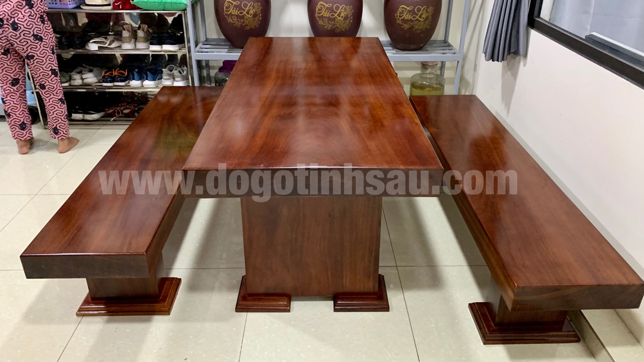 bo ban ghe an 3 tam go lim nam phi nguyen khoi - Bộ bàn ghế ăn 3 tấm gỗ Lim Nam Phi nguyên khối