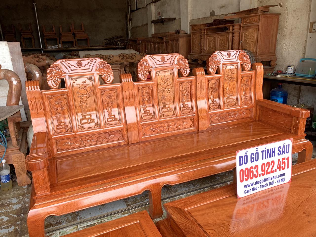bo ban ghe au a nhu y chuong voi tay dac go huong da 1 - Bộ bàn ghế Âu Á như ý chương voi tay đặc gỗ hương đá (hàng đặt)