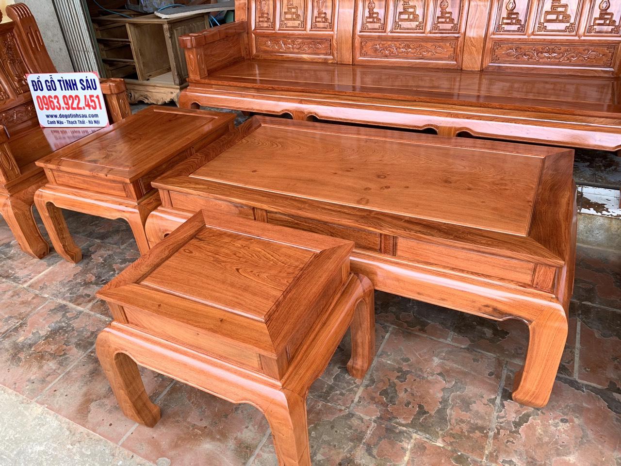 bo ban ghe au a nhu y chuong voi tay dac go huong da 3 - Bộ bàn ghế Âu Á như ý chương voi tay đặc gỗ hương đá (hàng đặt)