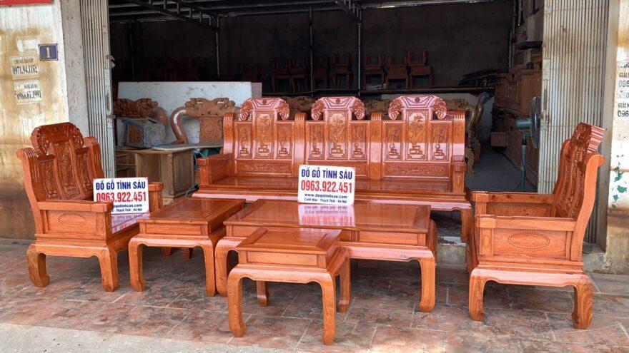 bo ban ghe au a nhu y chuong voi tay dac go huong da 880x495 - Bộ bàn ghế Âu Á như ý chương voi tay đặc gỗ hương đá (hàng đặt)