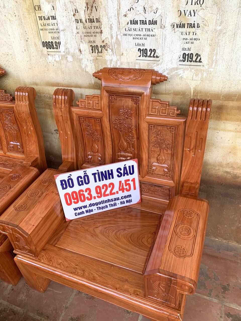 bo ghe au a hop go huong da 2 - Bộ bàn ghế âu á hộp gỗ hương đá chương cuốn thư vân VIP