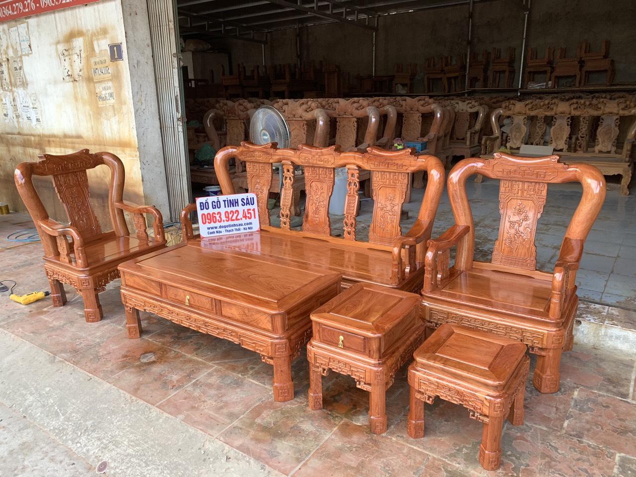 bo ghe minh quoc trien cot 10 go huong da 6 mon - Bộ ghế Minh Quốc triện cột 10 gỗ hương đá 6 món