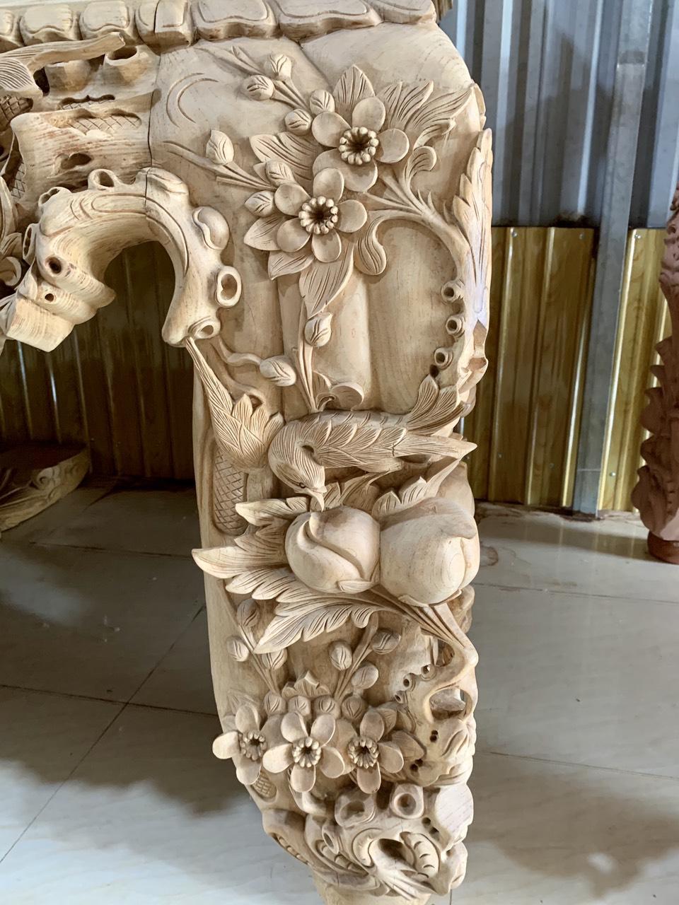 chan duc chim - Siêu sập thờ Mai Điểu chân 26 gỗ gụ đục chạm tinh xảo (dạ liền 10cm)