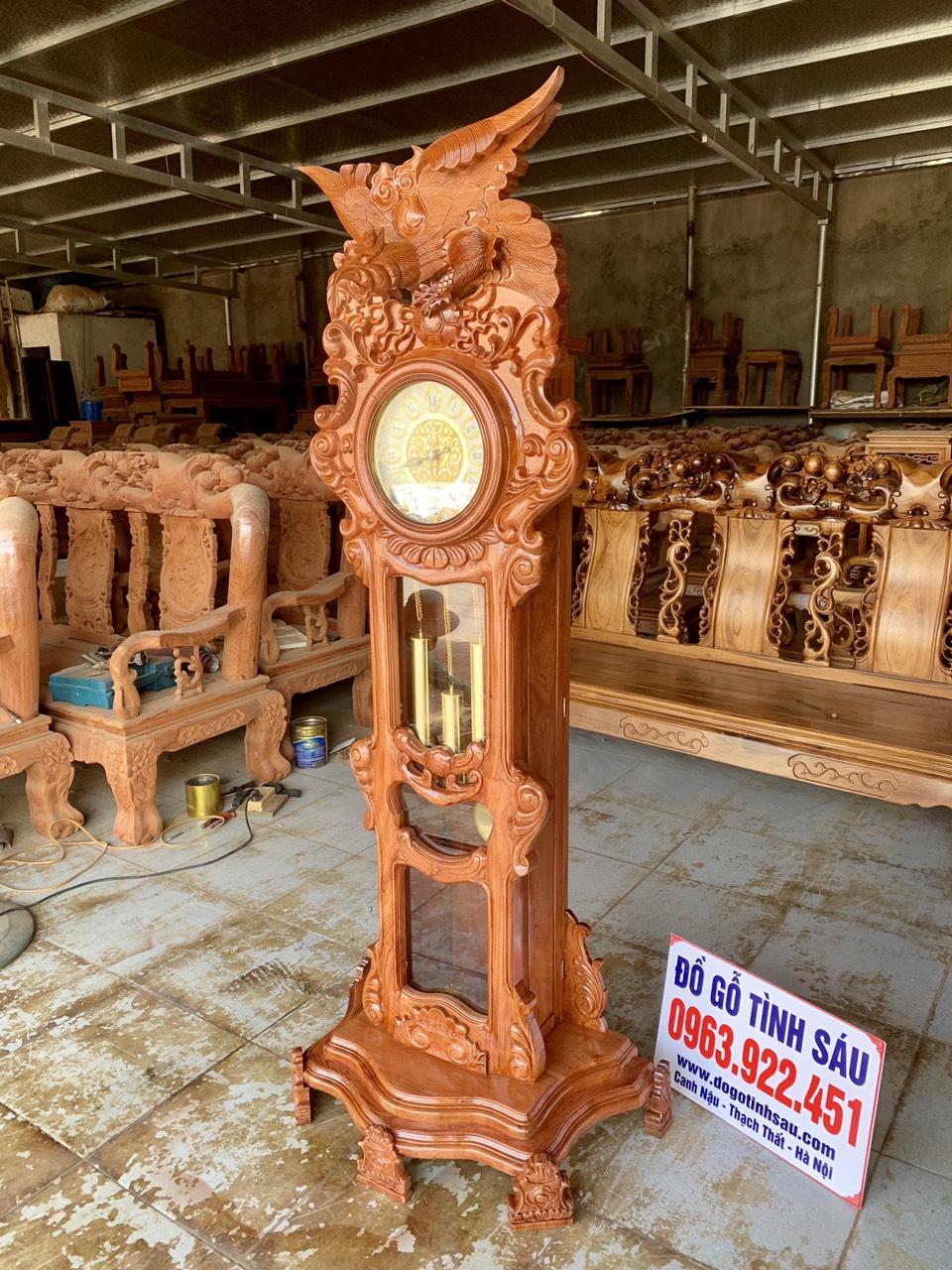 dong ho cay go huong da mau dai bang2 - Đồng hồ cây gỗ hương đá mẫu Đại Bàng vờn cầu
