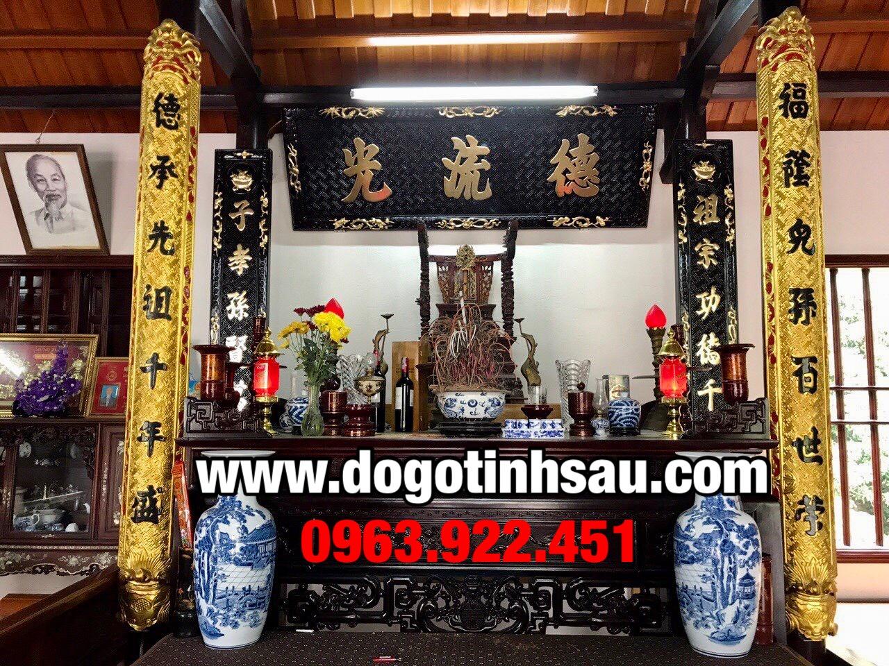 gia hoanh phi cau doi go gu - Bộ hoành phi câu đối gỗ gụ sơn then thiếp vàng Đài Loan