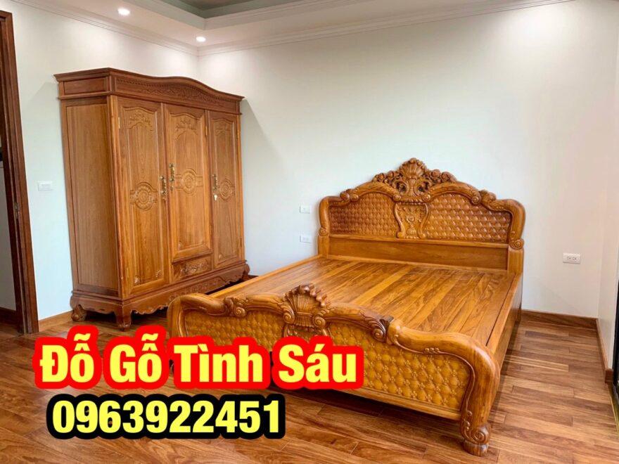 giuong go go dep 880x660 - Giường ngủ gỗ gõ đỏ mẫu Hồng Trĩ (1m8 x 2m)