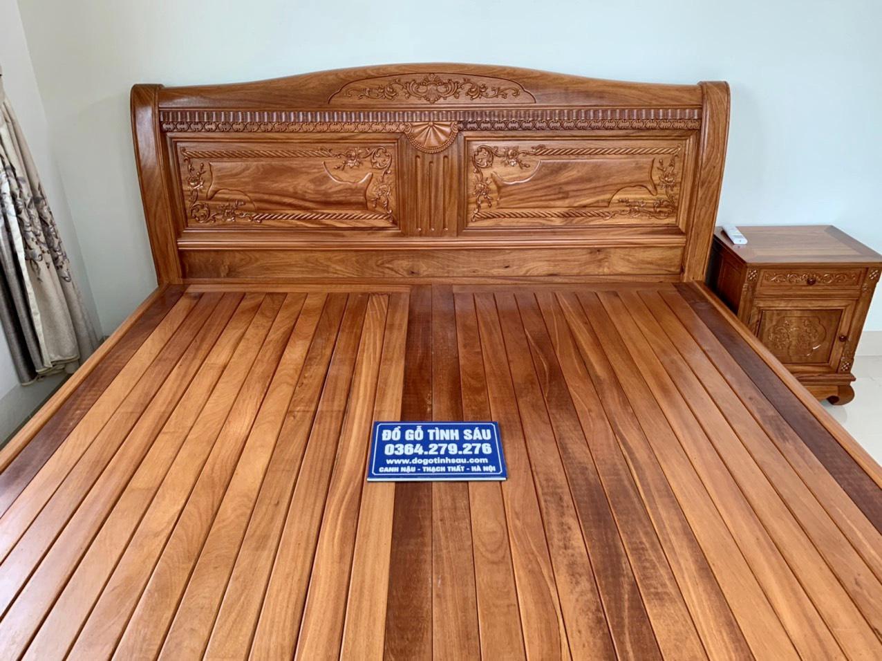 giuong ngu chu x go go do - Giường ngủ gỗ gõ đỏ mẫu chữ X kích thước 2m x 2m2