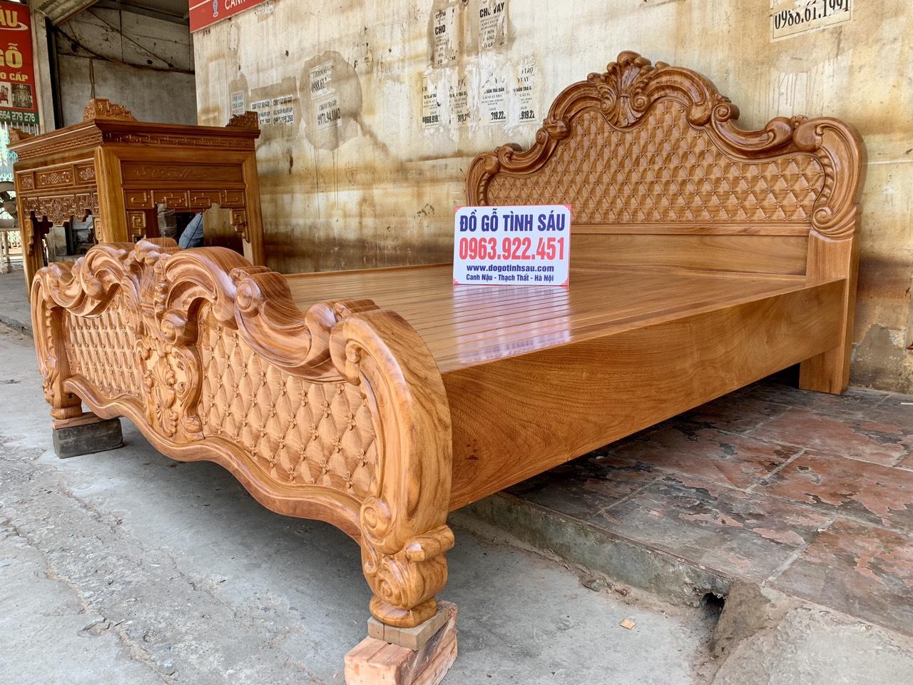 giuong ngu mau hoang gia go go do 1m8x2m 4 - Giường ngủ mẫu Hoàng Gia gỗ gõ đỏ kích thước 1m8 x 2m