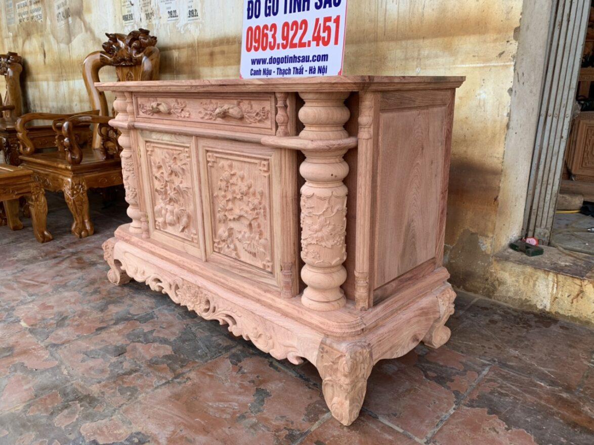ke tivi 1 cuc go huong 1174x880 - Kệ tivi cột nho 1 cục phẳng gỗ hương đá 1m2 (hàng dày)