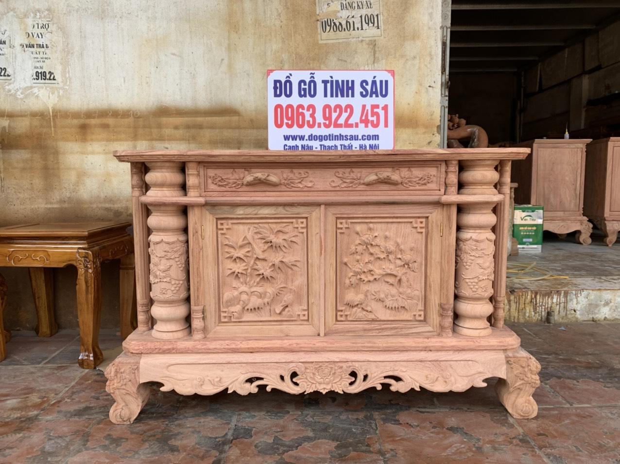 ke tivi 1 cuc go huong da nam phi - Kệ tivi cột nho 1 cục phẳng gỗ hương đá 1m2 (hàng dày)