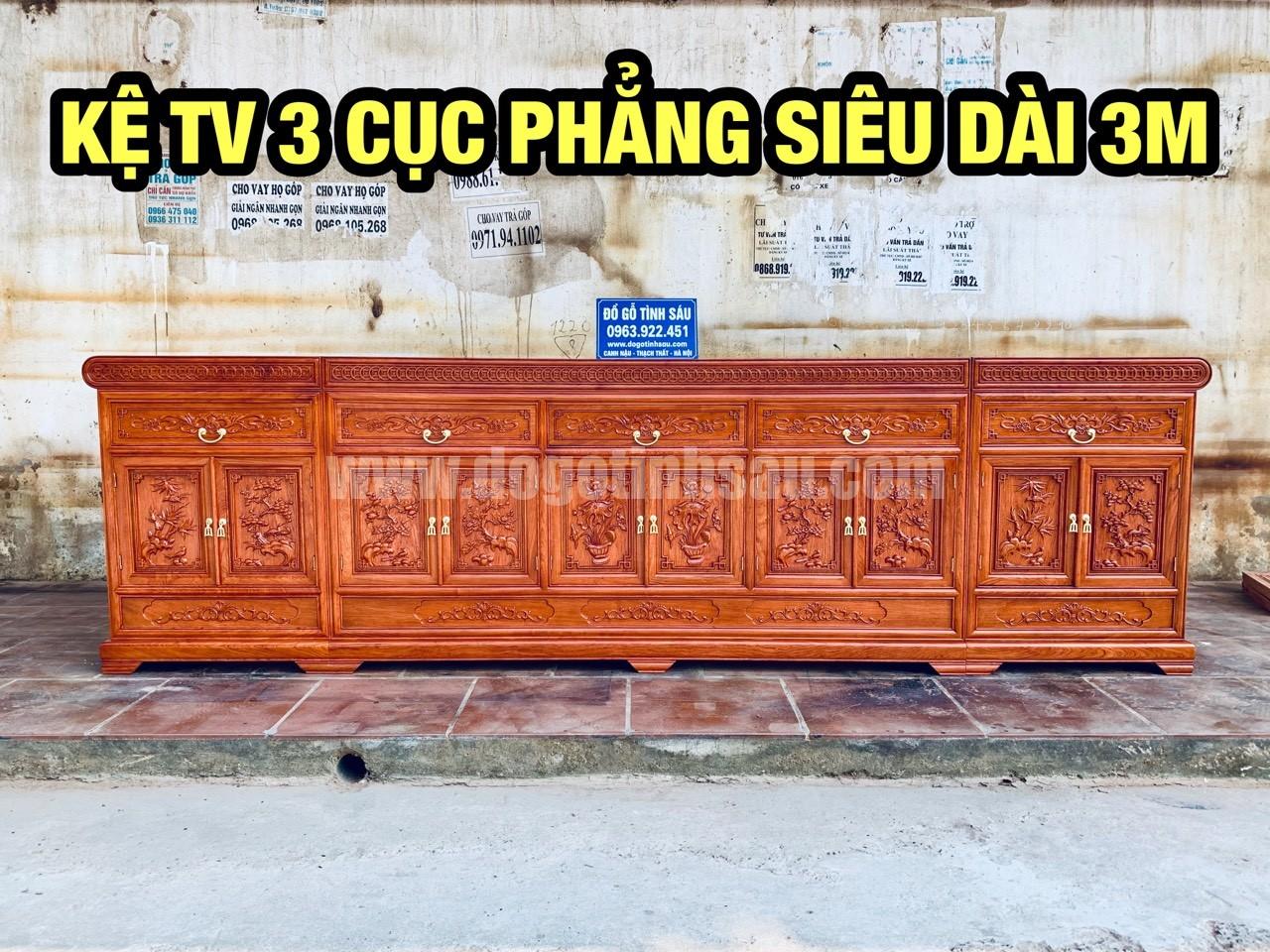 ke tivi 3 cuc go huong mat phang - Kệ tivi 3 cục mặt phẳng gỗ hương đá dài 3m