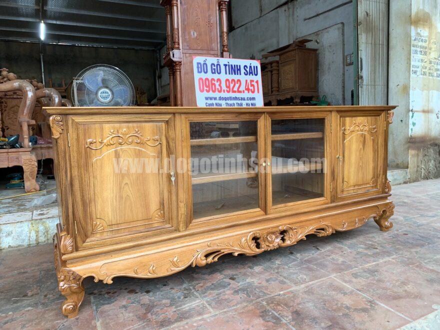 ke tivi go gu mat phang 2m duc tay 5 880x660 - Kệ tivi gỗ gụ mặt phẳng 2m đục tay (hàng đặt cực đẹp)