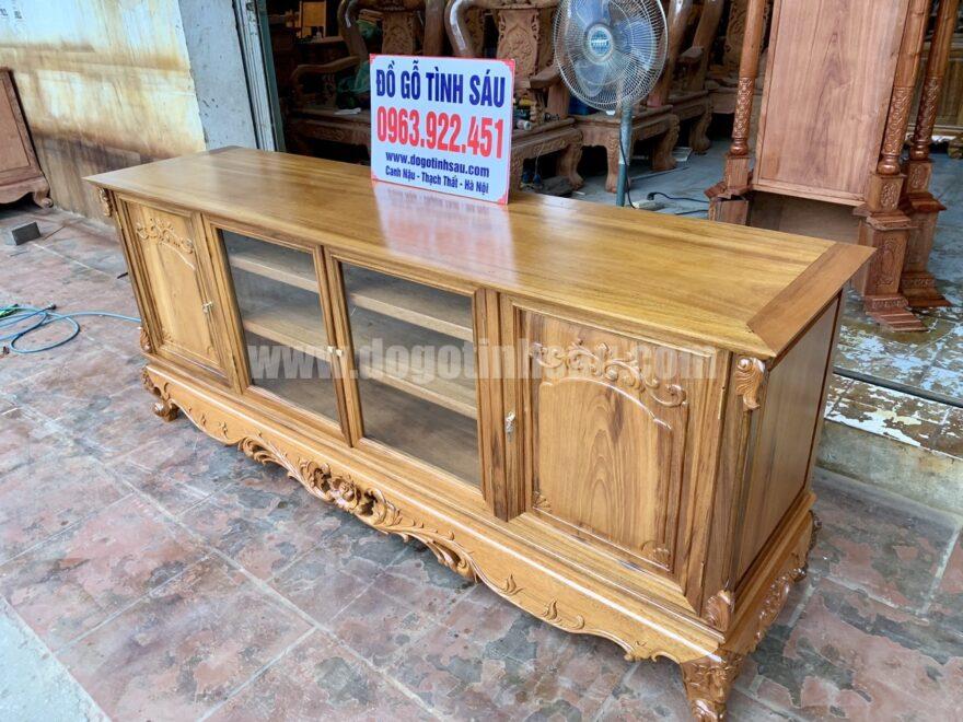 ke tivi go gu mat phang 2m duc tay 880x660 - Kệ tivi gỗ gụ mặt phẳng 2m đục tay (hàng đặt cực đẹp)
