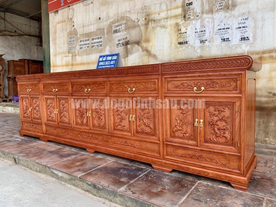 ke tivi go huong da mat phang 880x660 - Kệ tivi 3 cục mặt phẳng gỗ hương đá dài 3m