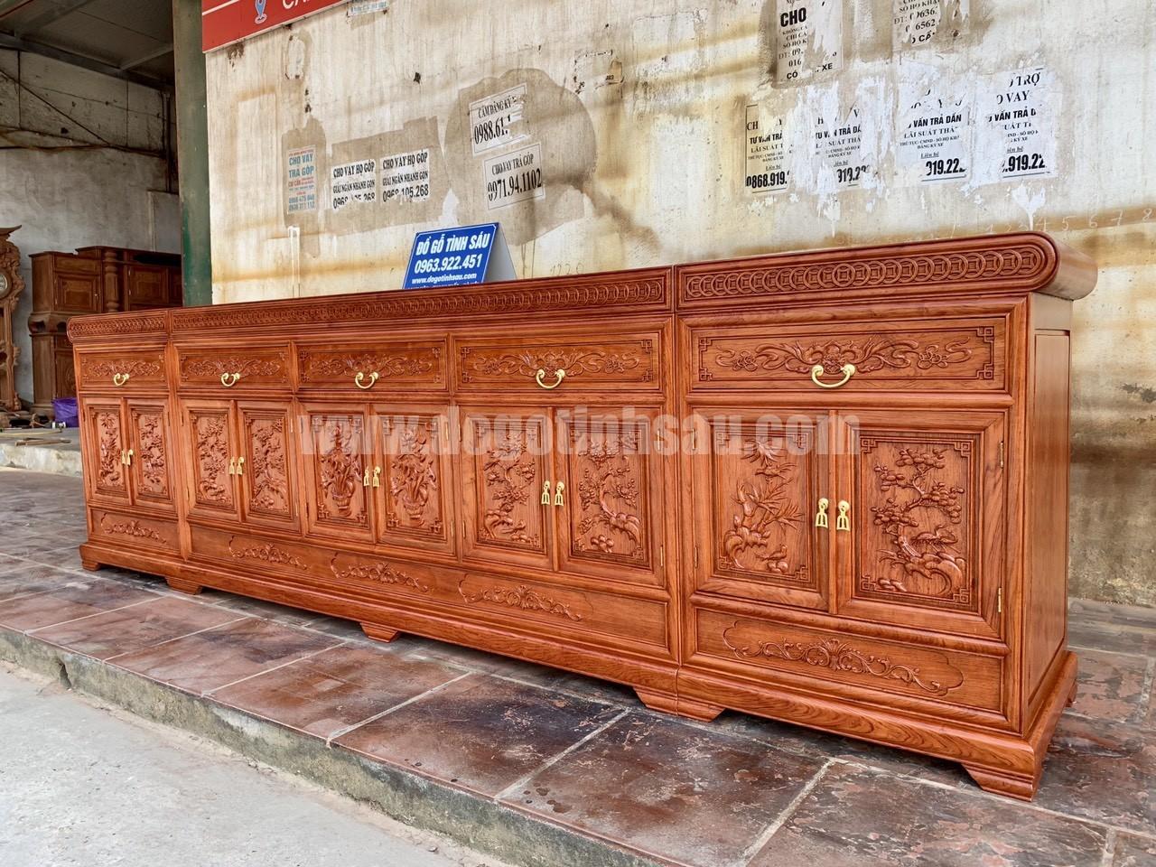 ke tivi go huong da mat phang - Kệ tivi 3 cục mặt phẳng gỗ hương đá dài 3m