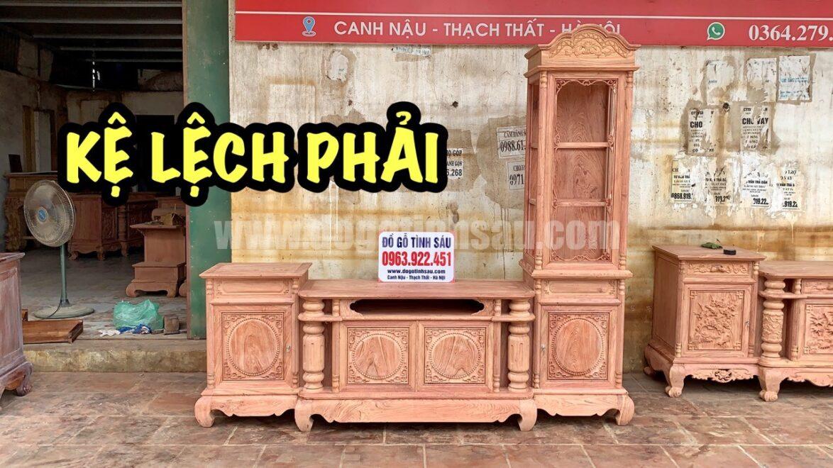 ke tivi lech ben phai go huong 1174x660 - Kệ tivi lệch phải cột trơn gỗ hương đá 2m4 (chọn vân)