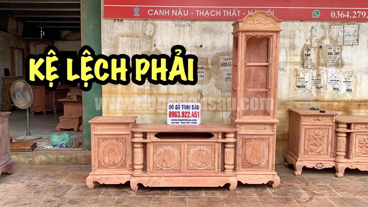 ke tivi lech ben phai go huong - Kệ tivi lệch phải cột trơn gỗ hương đá 2m4 (chọn vân)