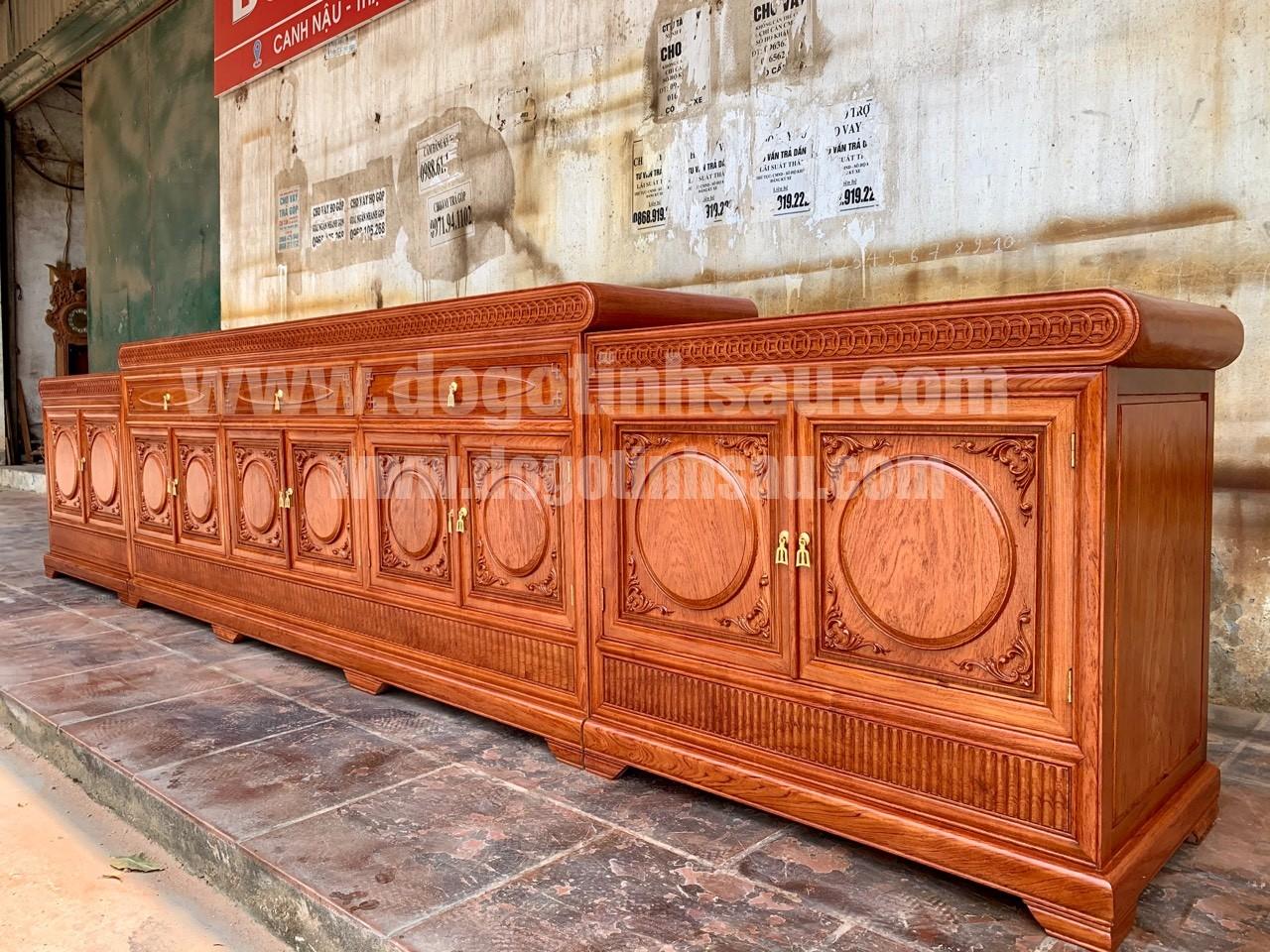 ke tivi mo loi go huong da dai 3m97 - Kệ tivi mõ lồi đồng tiền gỗ hương đá dài 3m97 (hàng VIP)