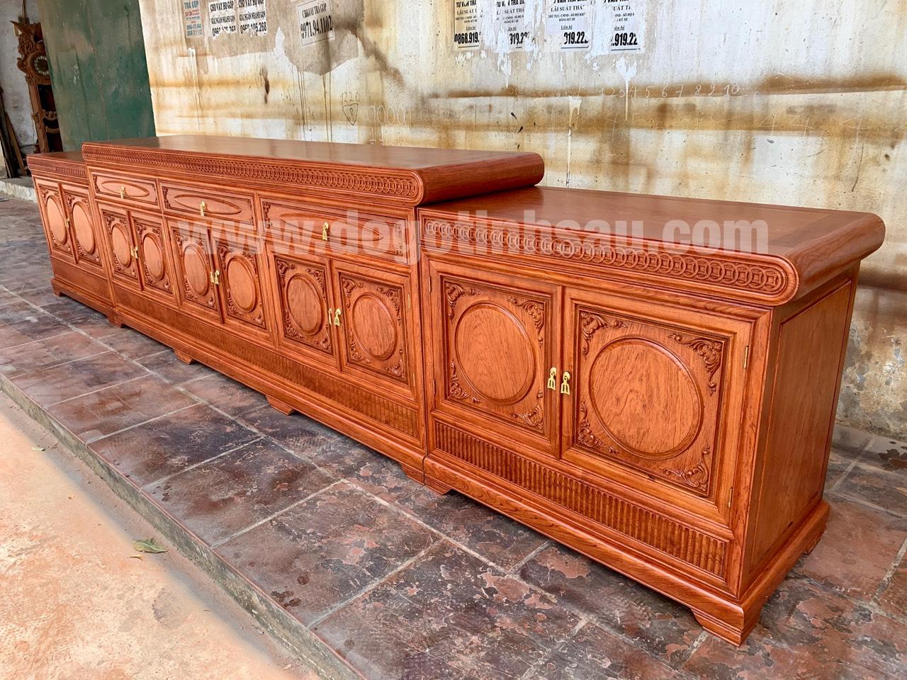 ke tivi mo loi go huong da nam phi - Kệ tivi mõ lồi đồng tiền gỗ hương đá dài 3m97 (hàng VIP)