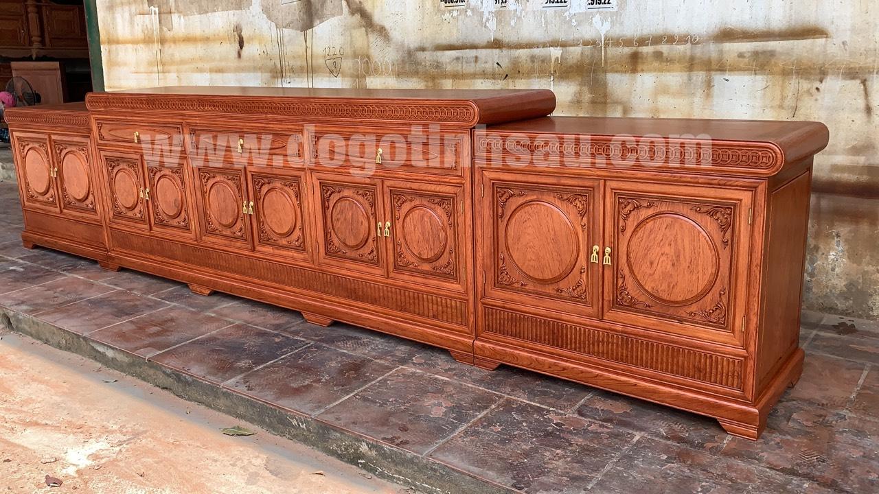 ke tivi mo loi go huong da - Kệ tivi mõ lồi đồng tiền gỗ hương đá dài 3m97 (hàng VIP)
