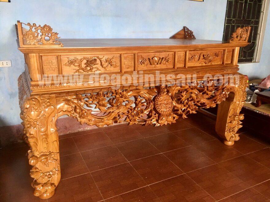 sap tho go go do chan 24cm 880x660 - Sập thờ Mai Điểu gỗ gõ đỏ chân 24 (hàng đục kĩ)