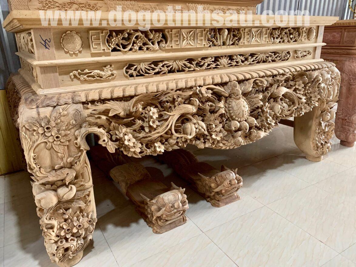 sap tho mai dieu chan 26 go gu duc cham tinh xao da lien 10cm 1 1174x881 - Siêu sập thờ Mai Điểu chân 26 gỗ gụ đục chạm tinh xảo (dạ liền 10cm)