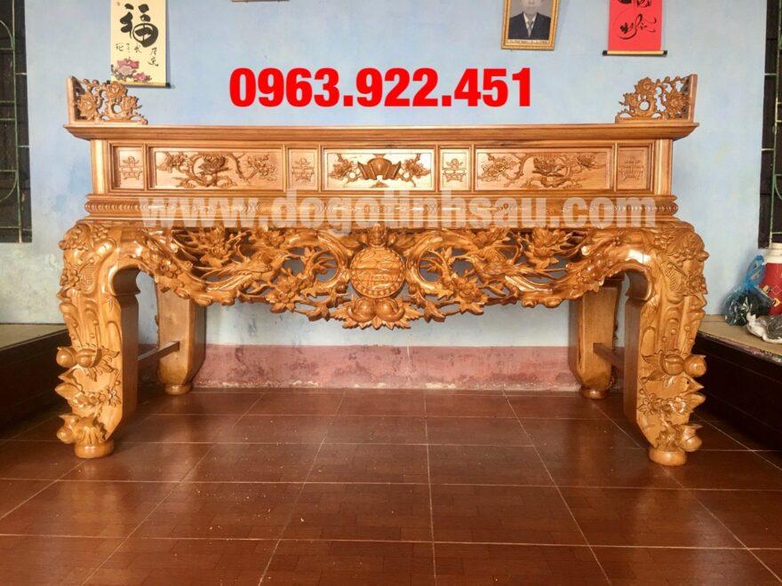sap tho mai dieu go go do nam phi chan 24 880x660 - Sập thờ Mai Điểu gỗ gõ đỏ chân 24 (hàng đục kĩ)
