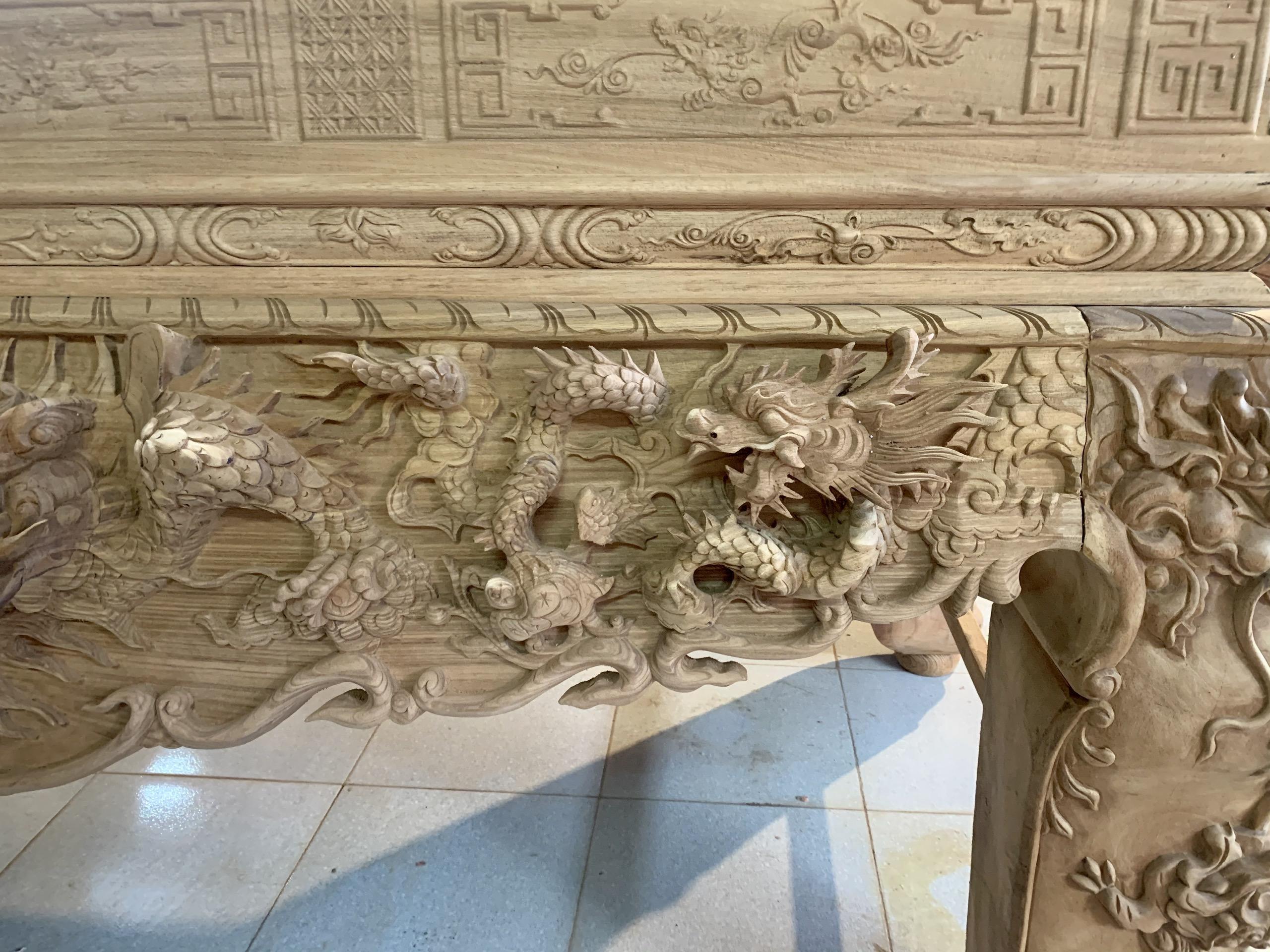 thanh long - Sập thờ Tứ Linh chân 22 gỗ gụ Lào (cổ liền)