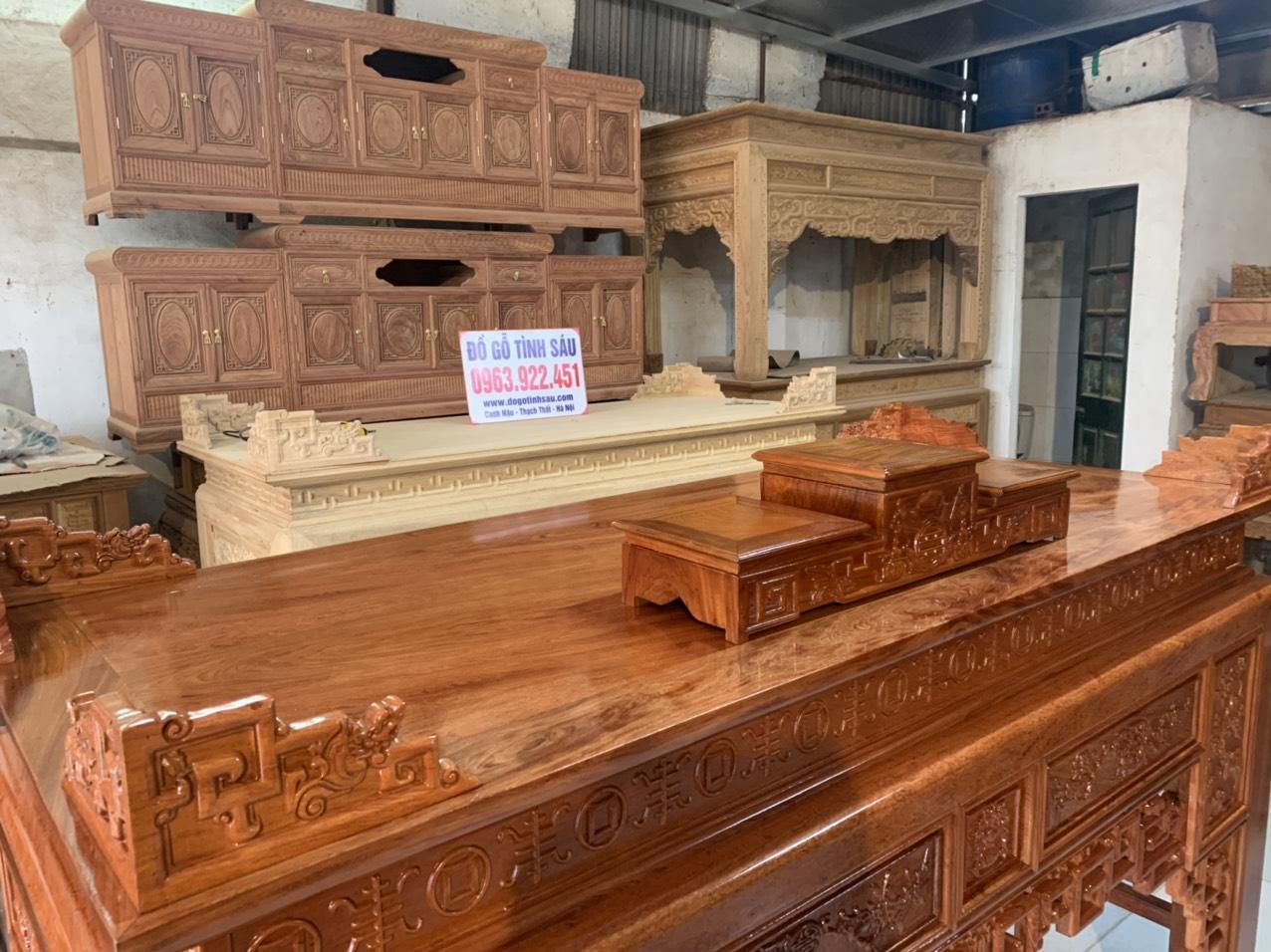 an gian bang go huong da 1m97 - Án gian thờ gỗ hương đá 1m97 (mẫu ô sa)