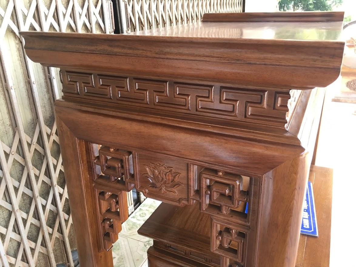 an gian go gu 1m07 - Cặp bàn thờ chung cư gỗ gụ án gian + bàn cơm 1m07