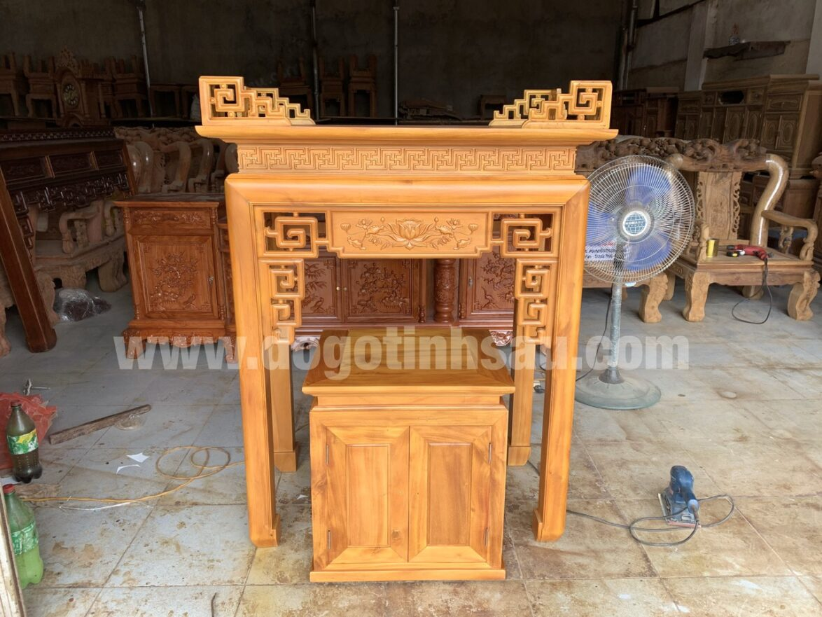 an gian tho chung cu go mit 1174x881 - Cặp bàn thờ án gian gỗ mít 1m07 và tủ cơm