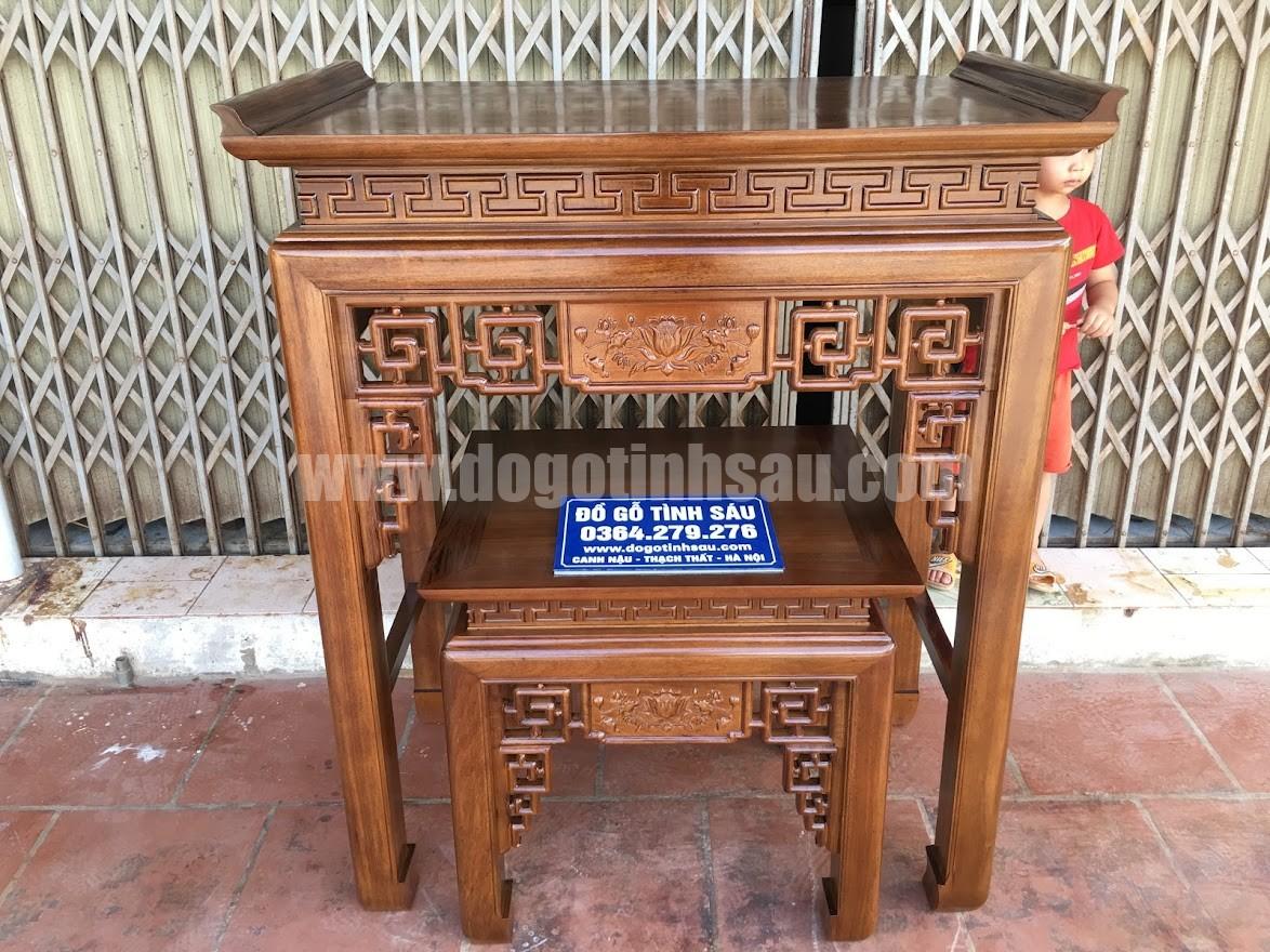 ban tho chung cu an gian go gu - Cặp bàn thờ chung cư gỗ gụ án gian + bàn cơm 1m07