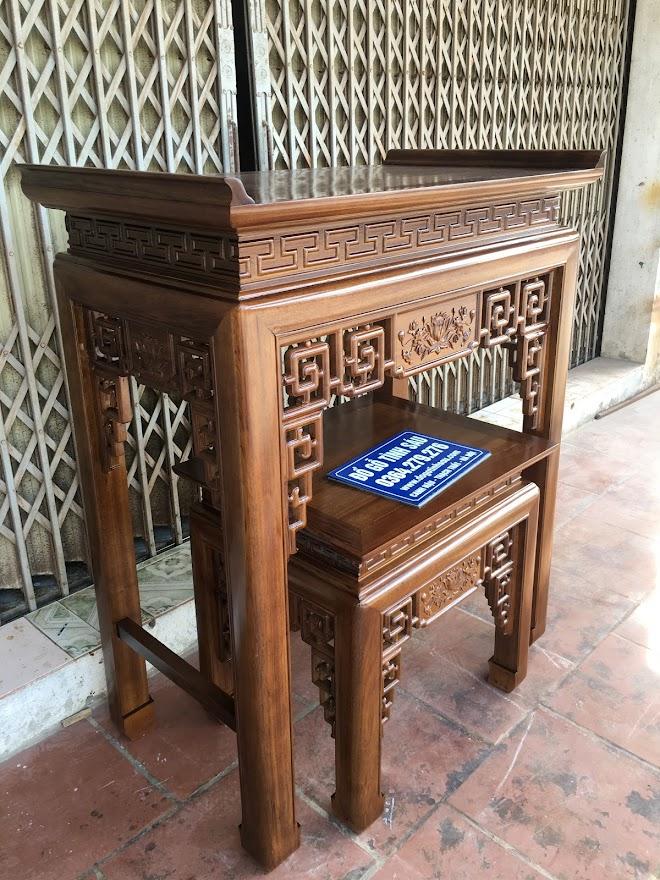 ban tho chung cu bang go gu - Cặp bàn thờ chung cư gỗ gụ án gian + bàn cơm 1m07